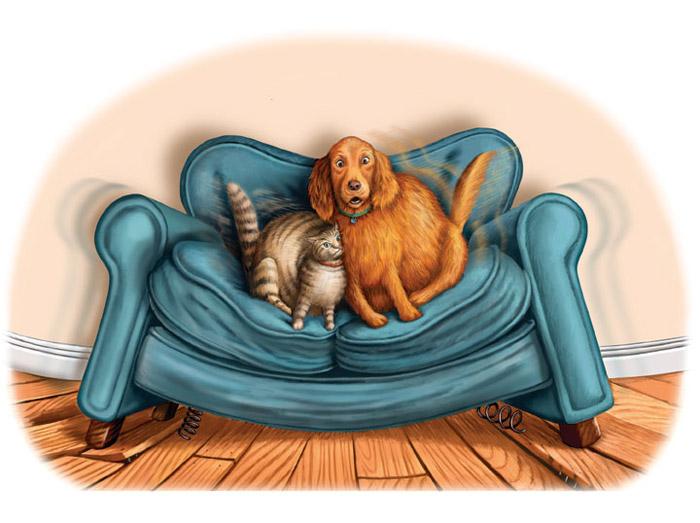 толстый кот и пёс