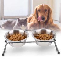 собака и кошка с кормом